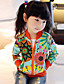 cheap Girls' Jackets & Coats-Girl's Cotton/Polyester Leisure Floral Long Sleeve Jacket & Coat