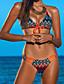 olcso Bikinik és fürdőruhák 2017-Női,Poliészter Pánt Geometriai Bikini Fürdőruha Virágos Push-up Boho Fehér Fekete Narancssárga Rózsaszín Szivárvány