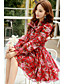cheap Women's Dresses-Women's 2016 New Spring Red Bow Long Sleeve  Bubble Skirt Dress