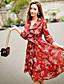 hesapli Kadın Elbiseleri-Bayanlar Polyester / Naylon / Splandeks Diz üstü ¾ Kol Uzunluğu Kalp Yaka Fırfırlı Bayanlar Elbise