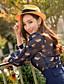 여성의 프린트 러프 카라 긴 소매 셔츠 캐쥬얼/데일리 블루 폴리에스테르 봄 반투명