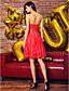 preiswerte Abendkleider-A-Linie Bateau / Bateau Hals Knie-Länge Spitze See Through Cocktailparty / Abiball Kleid mit Schärpe / Band durch TS Couture®