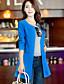 저렴한 여성 코트 & 트렌치 코트-여성의 솔리드 라운드 넥 긴 소매 트렌치 코트-심플 / 펑크 & 고딕 캐쥬얼/데일리 블루 / 레드 / 화이트 / 블랙 면 / 아크릴 겨울