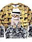 voordelige Herenhoodies & Sweatshirts-Print-Informeel / Werk / Formeel / Sport-Heren-Polyester-Hoodie & sweatshirt-Lange mouw-Goud