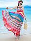 Feminino Chifon Vestido,Praia / Férias Boho Estampado Com Alças Longo Sem Manga Vermelho Poliéster Verão Cintura Alta Micro-Elástica