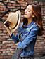 billige Blazere og jakker til damer-Langærmet Krave Medium Kvinders Blå Ensfarvet Forår / Efterår Simpel Casual/hverdag Denimjakker,Bomuld
