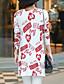 halpa Naisten puserot-Naisten Normaali Neule Yksinkertainen Bile,Painettu Pinkki / Valkoinen Epäsymmetrinen Pitkähihainen Puuvilla Syksy Keskipaksu