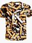 Masculino Camiseta Poliéster Estampado Manga Curta Casual / Formal / Esporte-Amarelo