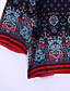 baratos Mini Vestidos-Mulheres Solto Vestido,Férias Boho / Fofo Estampado Cashemere Decote Redondo Mini Manga Longa Azul / Vermelho Poliéster Outono