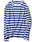 billige T-skjorter og singleter til herrer-Nylon Tynn Langermet,Rund hals T-skjorte Stripet Vår Høst Enkel Ut på byen Fritid/hverdag Plusstørrelser Herre
