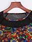 baratos Vestidos de Mulher-Mulheres Camiseta Vestido,Casual Simples Letra Decote Redondo Acima do Joelho Manga ¾ Preto Poliéster Verão