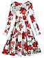 preiswerte Damen Kleider-Damen Retro Übergrössen Hülle Knielang Kleid, Druck Rundhalsausschnitt Langarm Frühling