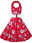preiswerte Damen Kleider-Damen Hülle Kleid-Lässig/Alltäglich Retro Druck Quadratischer Ausschnitt Knielang Ärmellos Rot Baumwolle Polyester Sommer Hohe Hüfthöhe