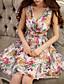 preiswerte Damen Kleider-Damen Kleid-A-Linie / Das kleine Schwarze Sexy Blumen Knielang Polyester V-Ausschnitt