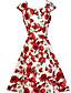 preiswerte Damen Kleider-Damen Hülle Swing Kleid-Ausgehen Retro Blumen U-Ausschnitt Knielang Kurzarm Baumwolle Sommer Hohe Hüfthöhe Unelastisch Mittel
