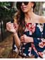 baratos Camisetas Femininas-Mulheres Camiseta Floral Linho Decote Canoa