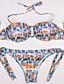 رخيصةأون ملابس السباحة والبيكيني 2017 للنساء-بيكيني نسائي تصميم زهري / هندسي قبة مرتفعة حول الرقبة