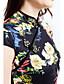 olcso Molett ruhák-Bodycon Ruha Női Vintage Casual/hétköznapi Nagy méretek,Virágos Állógallér Mini Ujjatlan Poliészter Nyári Közepes derekú Mikroelasztikus