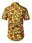 baratos Camisas Masculinas-Homens Camisa Social Diário Trabalho Casual Geométrica Poliéster/Algodão Colarinho de Camisa Manga Curta