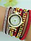 baratos Relógios da Moda-Mulheres Bracele Relógio Quartzo Com Strass Couro Banda Boêmio Preta Branco Vermelho Marrom Azul Marinho Rose