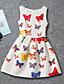 Mädchen Kleid Druck Jacquard Polyester/Baumwollmischung Ärmellos