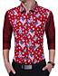 Bomull Rayon Tynn Langermet,Skjortekrage Skjorte Trykt mønster Fargeblokk Alle sesonger Vintage Enkel Arbeid Fritid/hverdag Herre