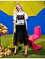 halpa Naisten yläosat-Naiset Lyhythihainen Pyöreä kaula-aukko Puuvilla Viskoosia Yksinkertainen Päivittäin Kausaliteetti T-paita,Kuvio Lainaukset