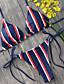 cheap Women's Swimwear & Bikinis-Women's Plunging Neckline / Color Block Halter Neck Bikini - Striped