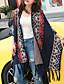 preiswerte Damen Pullover-Damen Lang Mantel / Capes-Lässig/Alltäglich Geometrisch V-Ausschnitt Halbe Ärmel Baumwolle Leinen Herbst Mittel Mikro-elastisch