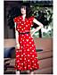 preiswerte Damen Kleider-Damen Swing Kleid-Ausgehen Niedlich Punkt V-Ausschnitt Midi Kurzarm Polyester Sommer Mittlere Hüfthöhe Mikro-elastisch Mittel