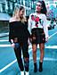 preiswerte Damen Kapuzenpullover & Sweatshirts-Damen Pullover Lässig/Alltäglich Einfach Solide Druck Bestickt Rundhalsausschnitt Unelastisch Baumwolle Lange Ärmel Frühling Sommer