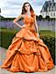 abordables robe grande taille-Robe de Soirée Une Epaule Traîne Tribunal Taffetas Robe avec Appliques / Jupe par TS Couture®