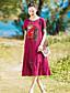 preiswerte Damen Kleider-Damen Swing Kleid-Lässig/Alltäglich Solide Stickerei Rundhalsausschnitt Midi Kurzarm Baumwolle Leinen Frühling Sommer Mittlere Hüfthöhe