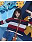 preiswerte Damen Pullover-Damen Standard Pullover-Ausgehen Einfach Gestreift Rundhalsausschnitt Langarm Polyester Frühling Dünn Mikro-elastisch