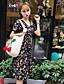 preiswerte Damen Kleider-Damen Skater Kleid-Lässig/Alltäglich Druck V-Ausschnitt Midi Kurzarm Polyester Sommer Hohe Hüfthöhe Unelastisch Dünn