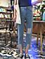 preiswerte Damen Hosen-Damen Einfach Hohe Hüfthöhe Mikro-elastisch Jeans Chinos Schlank Hose Solide