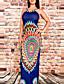 Damen Bodycon Kleid-Party Klub Lässig/Alltäglich Sexy Retro Boho Geometrisch Gurt Maxi Ärmellos Polyester Frühling Sommer Hohe Hüfthöhe