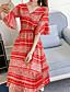 Damen A-Linie Kleid-Lässig/Alltäglich Strand Boho Druck V-Ausschnitt Midi Halbe Ärmel Polyester Sommer Herbst Hohe Hüfthöhe