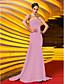 baratos Vestidos de Noite-Sereia Sem Alças Cauda Escova Microfibra Jersey Evento Formal Baile Militar Vestido com Miçangas Franzido Cruzado de TS Couture®