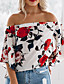 preiswerte Bluse-Damen Geometrisch Bluse, Schulterfrei Rüsche Blütenblatt Ärmel