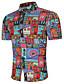 tanie Męskie koszule-Rozmiar plus Koszula Męskie Wzornictwo chińskie, Nadruk Bawełna Geometryczny
