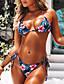 halpa Bikinis-Naisten Urheilullinen Perus Musta Keltainen Kolmia Pikkutuhmat Bikini Uima-asut - Kukka Color Block Avoin selkä Painettu S M L Musta