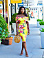 hesapli Print Dresses-Kadın's Bandaj Elbise - Çiçekli Midi