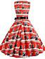 hesapli Vintage Kraliçesi-Kadın's Vintage Sokak Şıklığı Şifon Elbise - Çiçekli, Desen Midi Kelebek
