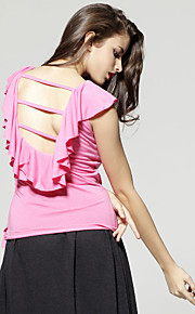 Women's Blouse - Solid Colored, Backless Ruffle