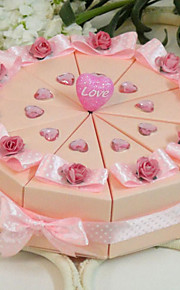 Round Square Pyramid Card Paper Favor Holder with Ribbons Printing Flower Favor Boxes - 10