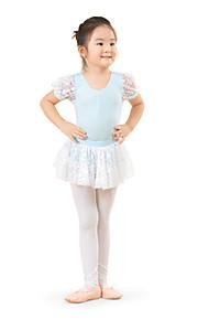 Dansetøj til børn Kjoler Træning Bomuld Blonde Kort Ærme Høj