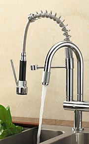кухонный смеситель - Современный Хром Выдвижная / Выпадающий Настольная установка