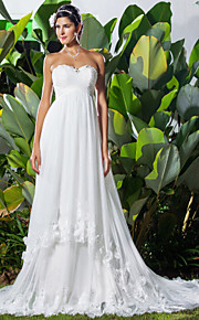 37113271e54a A-Linie Srdcový výstřih Extra dlouhá vlečka Tyl Svatební šaty vyrobené na  míru s Korálky