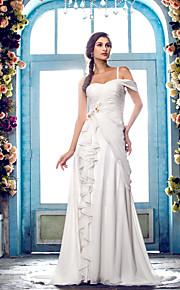 5597b5bca6a9 A-Linie Jedno rameno Dlouhá vlečka Šifón Svatební šaty vyrobené na míru s  Korálky